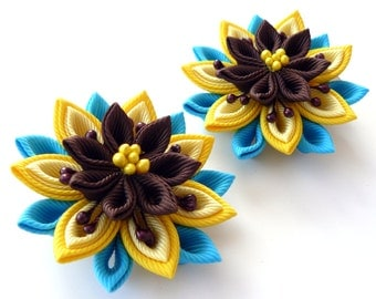 Kanzashi  Fabric Flowers. Set of 2 hair clips. Yellow, turquoise and brown.