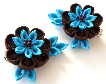 Kanzashi  Fabric Flowers. Set of 2 hair clips. Brown and turquoise..