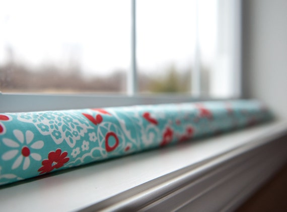 Door Draft Stopper Draught Dodger Aqua And Red By Greendecor