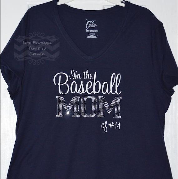 Items similar to personalized rhinestone baseball mom for Custom baseball shirts no minimum