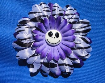 hair clip Purple flower zebra stripes with Jack nightmare before christmas