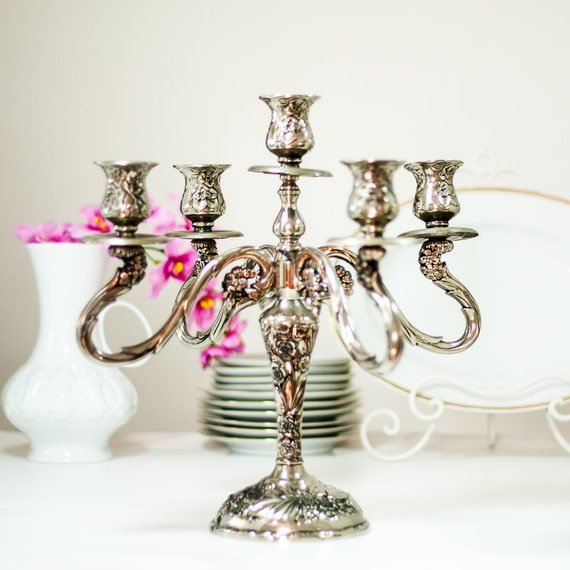 14'' Victorian Style Candelabra: Vintage Silver Plated