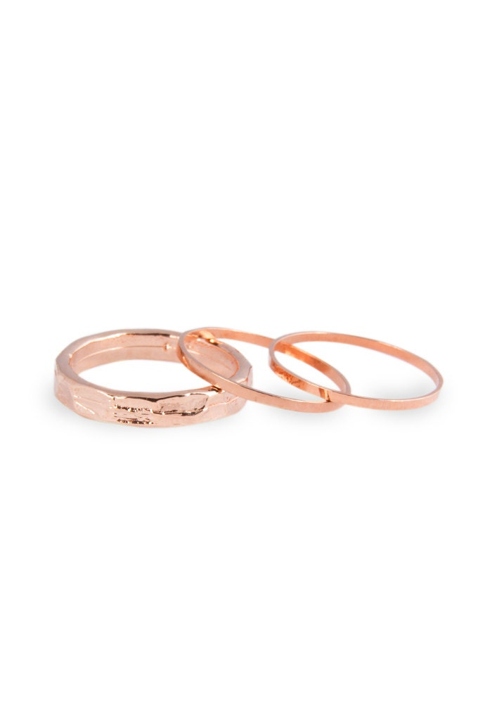 3 Above the Knuckle Rose Gold Rings Z Rose Gold Combo set