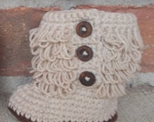 SALE Crochet Ruffle Booties for Babys