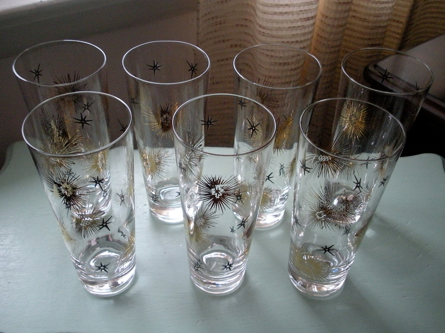 Vintage atomic starburst tumbler glasses tom collins high ball - Starburst glassware ...
