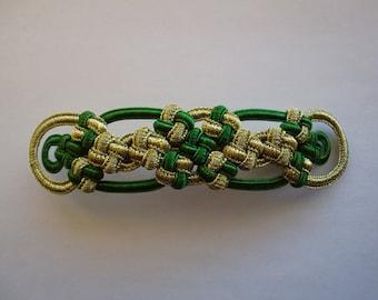 Cross Knot barrette gold&green