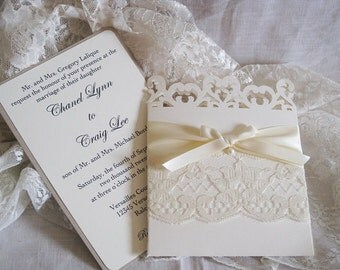 Lace Romance Wedding Invitations, French Market Elegant, Shabby Chic, Vintage Inspired, Haute Couture Invitations