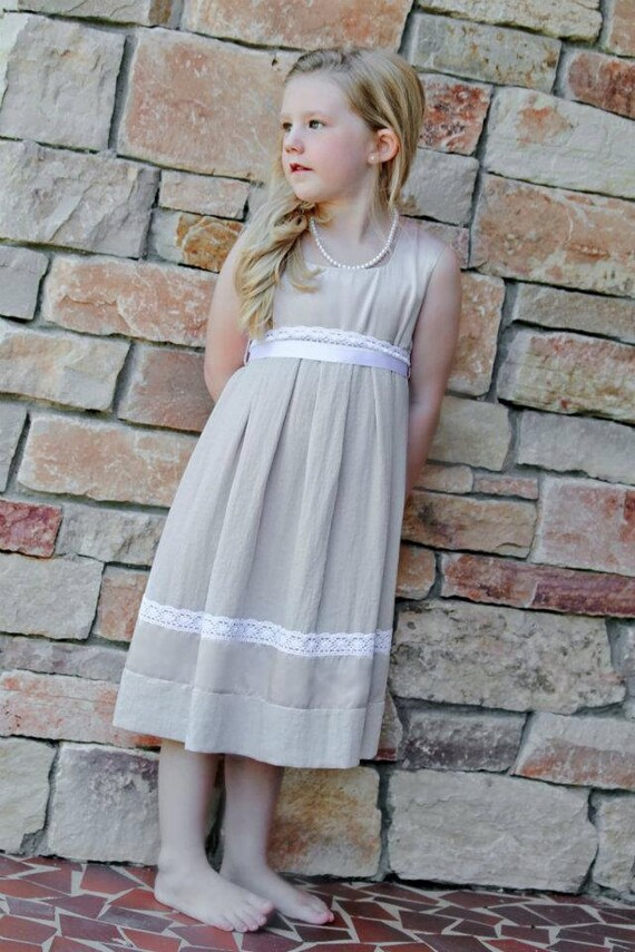Beige girls dress D8 flower girl white stone silk linen decorated with cotton lace /hmet/rusteam
