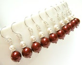 "Set of Five (5) Burgundy Pearl Bridesmaid Earrings, Burgundy Earrings, Bridesmaids Gifts, Bridal Party Gifts - ""Present Moment Burgundy"""