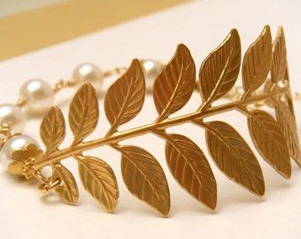 Leaf Branch Bracelet, Pearl Bridal Bracelet Brass, Grecian Bracelet, Country Wedding, Wedding Jewelry - Brass Leaf Bridal Bracelet