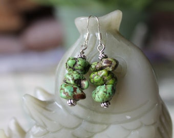 Natural Free Form Green Turquoise Earrings, sterling silver hook