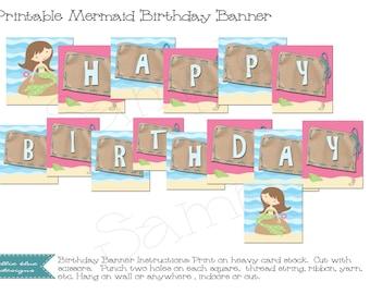 DIY Printable Mermaid Birthday Banner - Download and Print Digital JPEG Images
