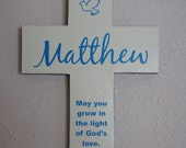 Christening gift for boy or girl  - Personalized  Pine Wood Cross with Dove and Quote Poem Baptism G