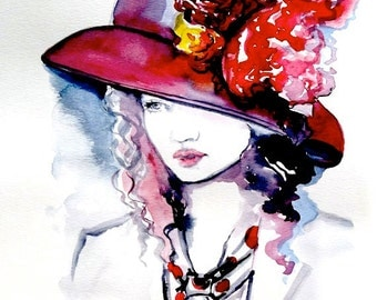 Fashion Illustration Watercolor Original Painting by Lana Moes