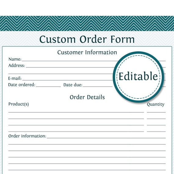 Custom order form fillable business planner printable for Customizing project templates