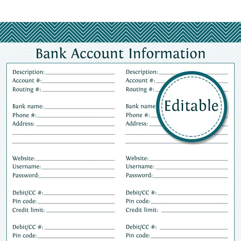 Bank Account Information Fillable Instant Download