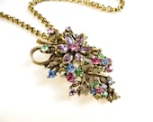 Vintage Coro Necklace, Rhinestone Flower Necklace, Floral Necklace, Antique Gold Tone Metal, Pink, Blue, Purple, Green and Yellow