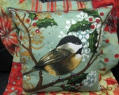 Quilted Snow Scene Bird Pillow