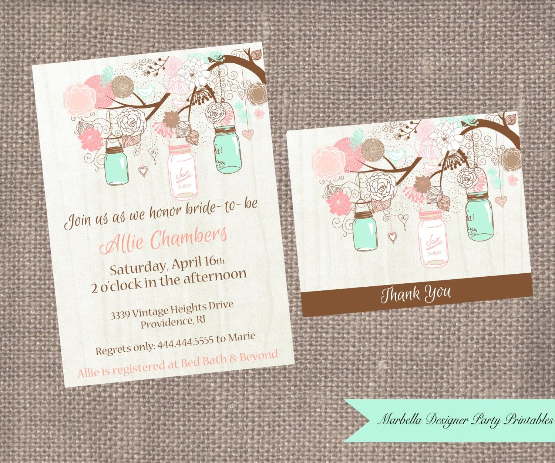 Coral And Mint Wedding Invitations: Mint/Coral Mason Jar Bridal Shower/Baby Shower/Birthday