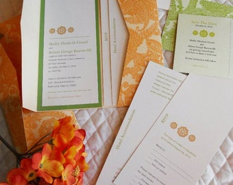 Long Pocket Fold Wedding Invitation shown in orange paisley, green and ecru