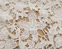 Ivory Crocheted Lace Fabric Retro Style Embroidered Lace with Maple Flowers for Bridal Gown