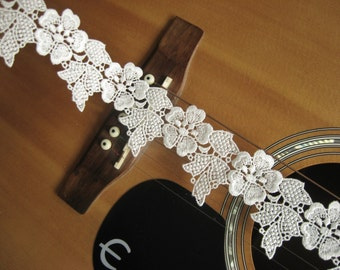 off White Lace Trim with flowers, guipure lace trim, ivory lace trim, venise lace, bridal lace trim