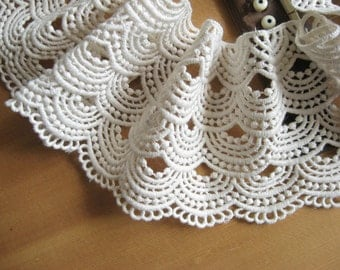 Ivory Cotton Lace, Antique Wave Pattern Lace Trim, 3.94 inch, cmsr003