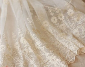 lace trim, embroidered gauze lace, white antique lace trim, Bridal lace fabric with retro floral