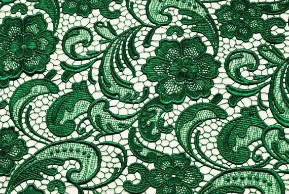 Emerald Green Lace Fabric Guipure Lace Fabric Venise By