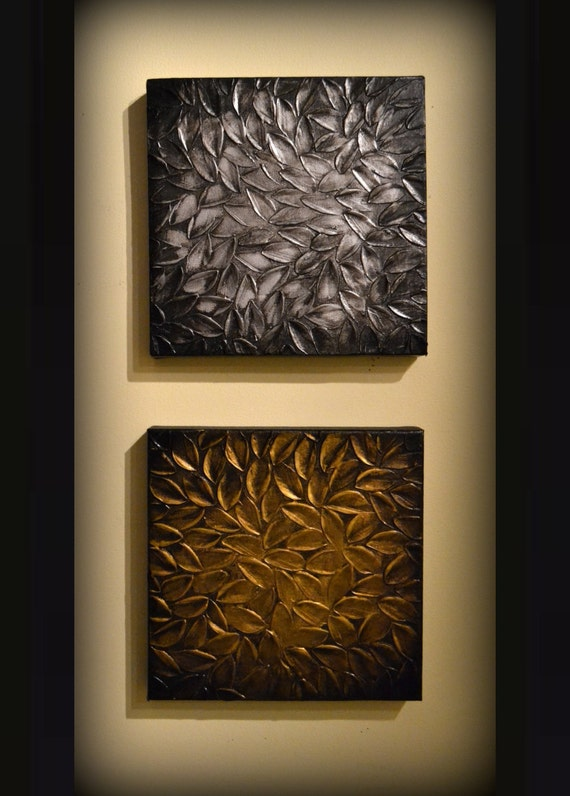 Textured art modern home decor silver gold leaves set by for Modern silver home accessories