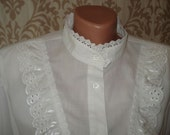 WHITE COTTON BLOUSE Delicate Lace Collar Victorian Blouse Elegant Classical Vintage White Blouse Mother's Day Gift