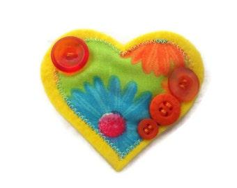 Heart Brooch, yellow jacket pin, womens accessory