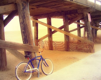 """Pier Photography-Calming-California-Beach Photography-Bicycle Photography-Vintage Style-8x10 Luster Photograph-""""Beach Cruiser"""""""