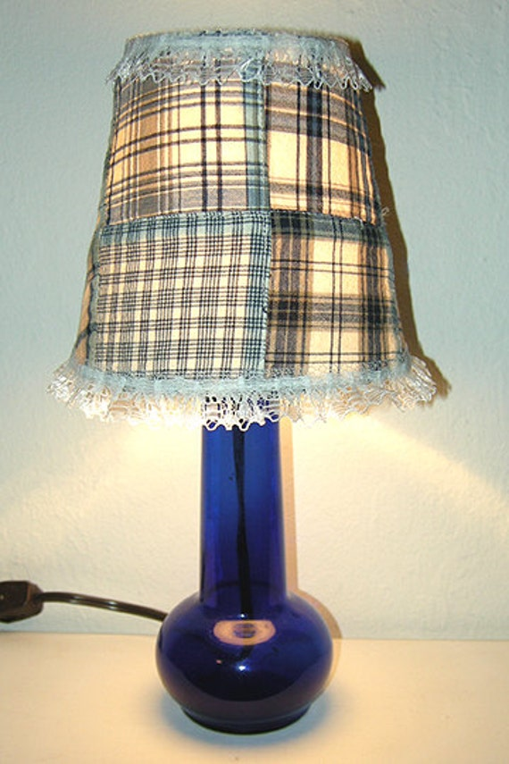 upcycled dark blue glass lamp with blue plaid patchwork shade. Black Bedroom Furniture Sets. Home Design Ideas