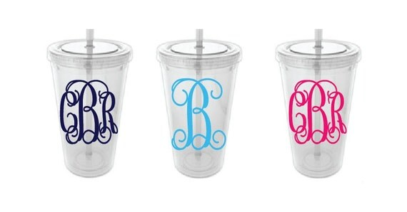 Personalized Monogram Tumbler 16 oz with Interlocking Vines Monogram