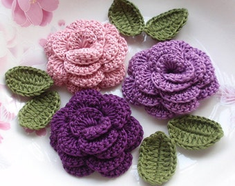 3 Crochet  Flowers (Roses) With Leaves YH - 153-02