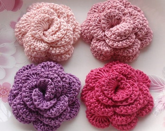 4 Crochet  Flowers Roses In 2 inches YH -142-20