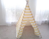 Yellow and White Orange and White Horizontal Stripe Tent , Tent , Childrens Teepee , 44 inch wide Play Tent Made to Order