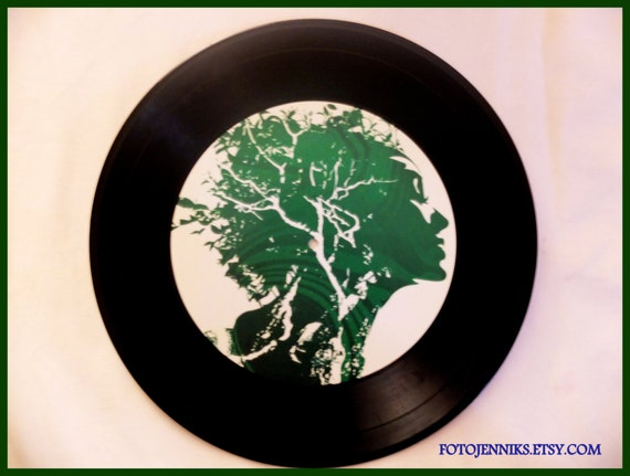 Items similar to green woman vinyl record decorations for Vinyl record decoration ideas