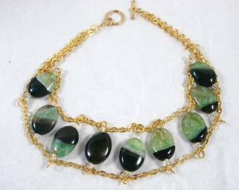Green and Black Agate Necklace/Choker