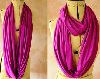 Infinity scarf - Circle scarf, Eternity scarf, Jersey scarf, Loop scarf, Snood, T-Shirt scarf - Purple Fuschia