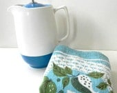 vintage mid century perfect linen napkins aqua with pear by ivan bartlett