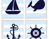 Nautical Nursery Art Print Set -  Navy Blue White Light Blue  Stripes Decor - Whale Anchor Sailboat Wheel - Wall Art Home Decor Set