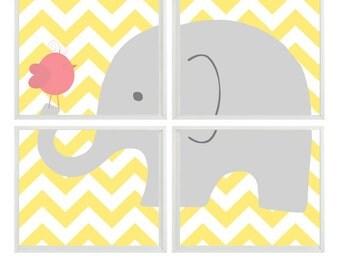 Elephant Nursery Art Chevron Bird - Yellow Gray Pink Decor - Baby Girl Children Kid room - Wall Art Home Decor