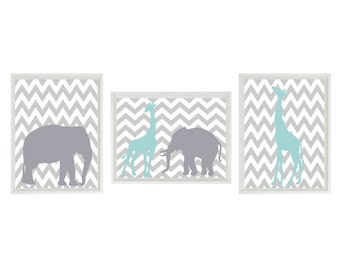 Elephant Giraffe Chevron Nursery Wall Art Print - Aqua Gray Decor - Children Kid Baby Room - Wall Art Home Decor Set   Prints