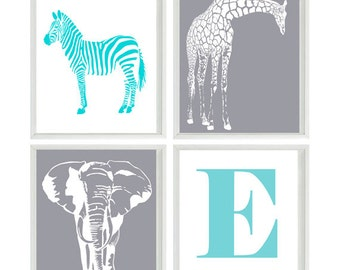 Safari Nursery Art Prints  - Name Personalize Elephant Giraffe - Aqua Gray  Baby Boy Children Room Home Decor