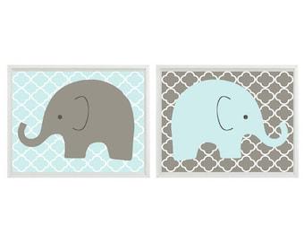 Elephant Nursery Art Print Set  - Aqua Gray Decor - Baby Boy Art Children Room - Safari Zoo Wall Art Home Decor Set ()  Print