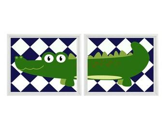 Alligator Nursery Wall Art Prints - Navy Blue Green Decor Harlequin Diamond Pattern - Children Kid Baby Boy Room - Home Decor