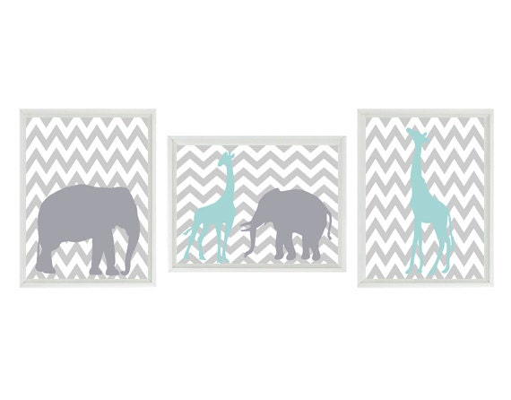 Elephant Giraffe Chevron Nursery Wall Art Print - Aqua Gray Decor - Children Kid Baby Room - Wall Art Home Decor Set   Prints