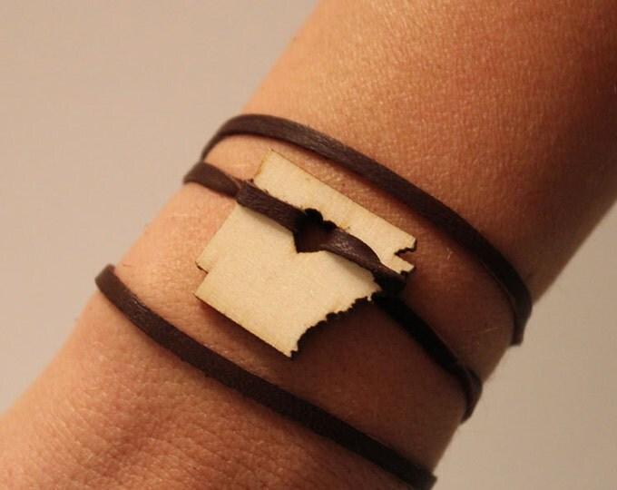 Arkansas Leather Wrap Bracelet